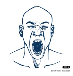 Shouting or yawning man Opened mouth vector image