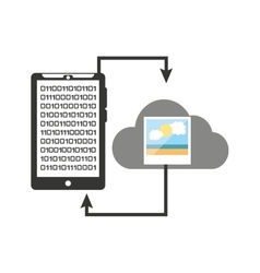 Smartphone transfer cloud data picture vector