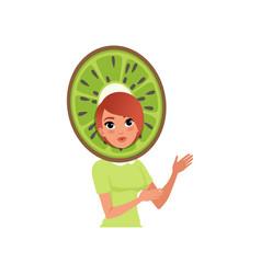 smiling woman character in kiwi fruit headwear vector image