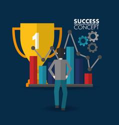 Success concept winner card vector