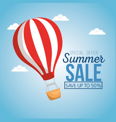 Summer sale with balloon air hot vector
