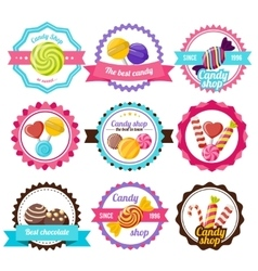 Sweet Candy Flat Emblem vector image