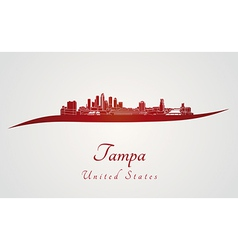 Tampa skyline in red vector image
