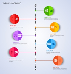 Time line info graphic with bent round pointer vector