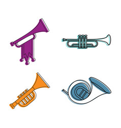 trumpet icon set color outline style vector image