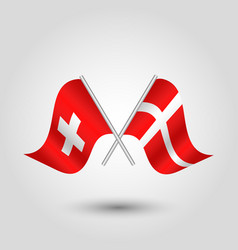 Two crossed swiss and danish flags on silve vector