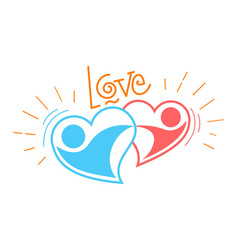 Two loving hearts in a dance vector