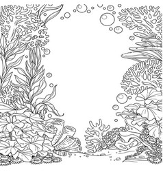 underwater world with corals seaweed and anemones vector image