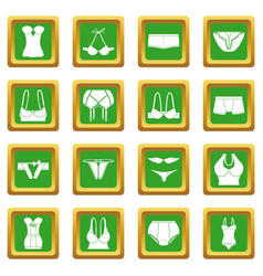 Underwear icons set green square vector