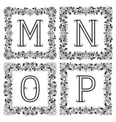 Vintage monograms set M N O P outline letters in vector image
