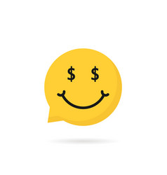 wealthy emoji speech bubble logo vector image