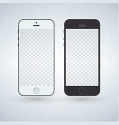 white and black smart phone mockup vector image