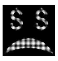 White halftone bankrupt sad emotion icon vector