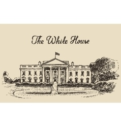 White House in Washington DC hand drawn sketch vector image