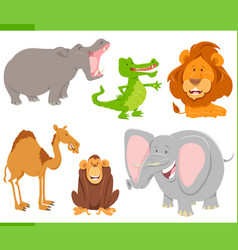 Wild animals cartoon characters collection vector