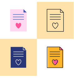 wish list concept icon set in flat and line styles vector image