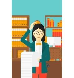Woman holding long bill vector