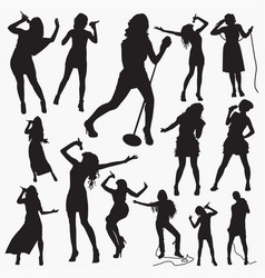 woman pop singer silhouettes vector image