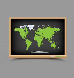 blackboard world map lesson vector image
