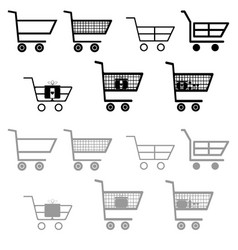 cart for shopping black and grey color vector image vector image