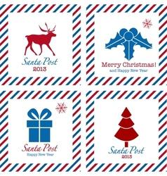 Merry Christmas postal stamps vector image