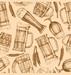 seamless pattern with different beer glasses and vector image vector image
