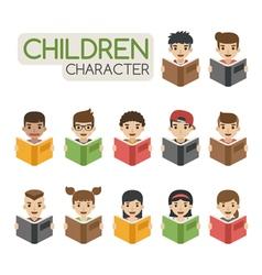 Set of cartoon children reading books eps10 vect vector image vector image