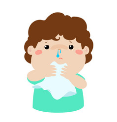 Sick boy runny nose vector