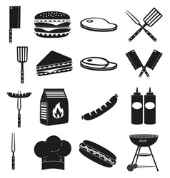 black white bbq outdoors 16 element silhouette set vector image vector image