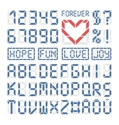 Digital font latin alphabet letters and numbers vector image vector image