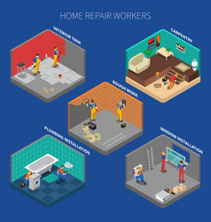home repair worker people composition set vector image vector image