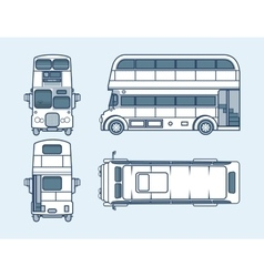 Red double-decker bus top front side back view vector