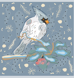 winter holiday greeting card with cute hand drawn vector image