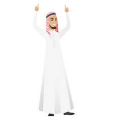 Businessman standing with raised arms up vector