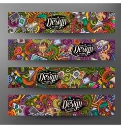 Cartoon doodles artistic banners vector image