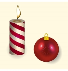 Christmas candle and Ball reflecting New Year vector image vector image