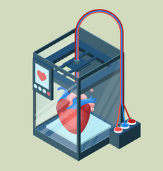 creating artificial heart on three dimensional vector image vector image