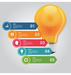 five 5 elements of idea info graphic chart circle vector image vector image