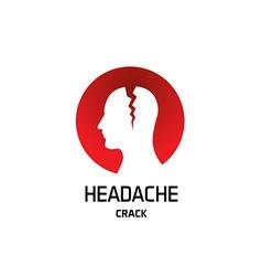 Headache logo with crack in a head Pharmaceutical vector image vector image