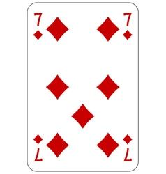 Poker playing card 7 diamond vector image