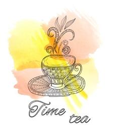 Tea party vintage background vector image