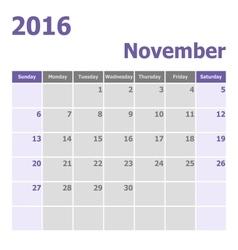 Calendar November 2016 week starts from Sunday vector image vector image