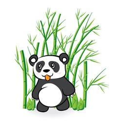 cute Panda Bear in Bamboo Forrest 01 vector image
