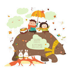 happy kids with bear and fox vector image vector image