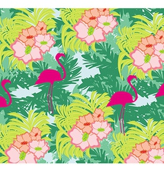 seamless flamingo bird pattern vector image vector image