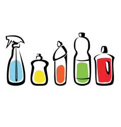 set of bottles with washing agents vector image vector image