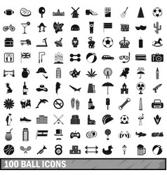 100 ball icons set simple style vector