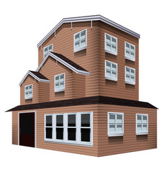 3d design for tall wooden house vector image vector image