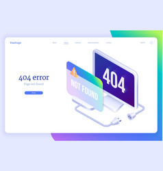 404 error isometric landing banner lost internet vector