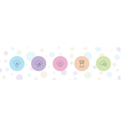 5 cloud icons vector
